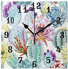 DOSHINE Wanduhr, Tropische Blumenkaktus,