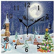 DOSHINE Wanduhr, Winter, Weihnachtsbaum,