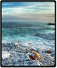 "DOUBEE blaue Seashells Fleece Blanket Decke Kuscheldecke Wolldecke 50"" x 60"",127cm X 152cm"