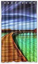 DOUBEE Custom Vorhänge hölzerne Brücke Bridge Polyester Deco Vorhang Design 127cm x 213cm (1 Stück)