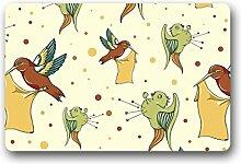 DOUBEE Design Birds Herzlich Fussmatte Premium Schmutzmatte Fußabstreifer 46cm X 76 cm