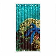 DOUBEE Design Blaue Seestern Coral Modern Und Vorhänge Polyester mit Ösen 127cm x 244cm (1 Stück)