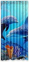 DOUBEE Design Delphin-Ozean Vorhänge klassisch Schiebevorhang Gardinen 100% Polyester 132 x 274 cm, (1 Stück)