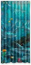 DOUBEE Design Dolphin Blaue Unterwasserwelt Vorhänge klassisch Schiebevorhang Gardinen 100% Polyester 132 x 274 cm, (1 Stück)