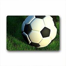 DOUBEE Design Fußball Soccer Herzlich Fussmatte Premium Schmutzmatte Fußabstreifer 46cm X 76cm
