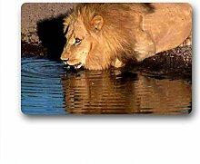 DOUBEE Design Löwe Lion Herzlich Fussmatte Premium Schmutzmatte Fußabstreifer 46cm X 76 cm