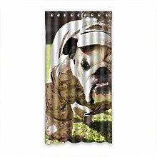 DOUBEE Design lustige Bulldogge Vorhänge 100% Polyester Anti-Schimmel 127cm x 244cm (1 Stück)