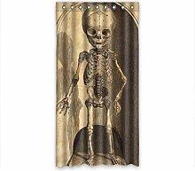 DOUBEE Design Menschliches Skelett Modern Und Vorhänge Polyester mit Ösen 127cm x 244cm (1 Stück)
