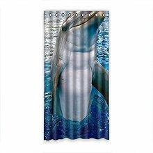 DOUBEE Design Netter Dolphin Modern Und Vorhänge Polyester mit Ösen 127cm x 244cm (1 Stück)