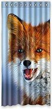 DOUBEE Design Niedlich Fox Vorhänge klassisch 100% Polyester Schiebevorhang Gardinen 132 x 274 cm, (1 Stück)