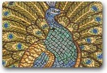 DOUBEE Design Peacock Fussmatte Premium Schmutzmatte Fußabstreifer im Freien Innen 46cm X 76 cm