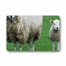 DOUBEE Design Schaf Sheep Fussmatte Schmutzmatte Fußabstreifer im Freien Innen 46cm X 76cm