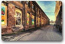 DOUBEE Design Stadtansicht Cityscape Herzlich Fussmatte Premium Schmutzmatte Fußabstreifer 46cm X 76 cm