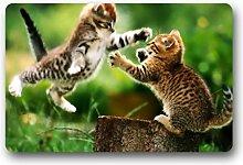 DOUBEE Design Tiere Katze Cat Herzlich Fussmatte Premium Schmutzmatte Fußabstreifer 46cm X 76 cm