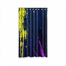 DOUBEE Design Vorhänge Gelber Splash Navy 100% Polyester Deco Gardinen 127cm x 213cm (1 Stück)