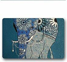 DOUBEE Elefant Elephant Fussmatte Premium Schmutzmatte Türmatte aus Garten Nach Hause 60cm X 40cm