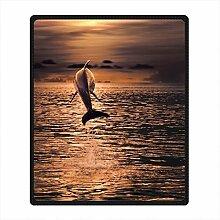 DOUBEE Fleece Decke Delphin Dolphin Pattern Blanket Kuscheldecke Wolldecke 127cm X 152cm
