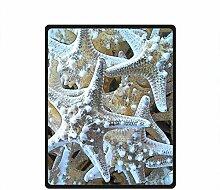 DOUBEE Fleece Decke Einzigartige Starfish Strand Pattern Blanket Kuscheldecke Wolldecke 127cm X 152cm