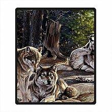 DOUBEE Fleece Decke Husky Pattern Blanket Kuscheldecke Wolldecke 127cm X 152cm