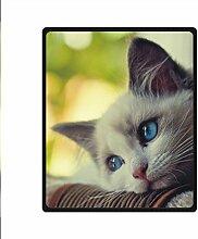 DOUBEE Fleece Decke Katze Cat Pattern Blanket Kuscheldecke Wolldecke 127cm X 152cm