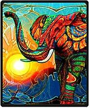 DOUBEE Fleece Decke Kunst Elefant Bunt Pattern Blanket Kuscheldecke Wolldecke 127cm X 152cm