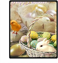 DOUBEE Fleece Decke Ostern Easter Pattern Blanket Kuscheldecke Wolldecke 127cm X 152cm