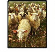 DOUBEE Fleece Decke Schaf Sheep Pattern Blanket Kuscheldecke Wolldecke 127cm X 152cm