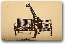 DOUBEE Generisches Animals Giraffe Fussmatte Premium Schmutzmatte Rechteckige Garten Nach Hause Türmatte 60cm X 40cm
