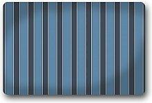 DOUBEE Generisches Design Gestreifte (Schwarz / Weiß / Blau) Fussmatte Premium Schmutzmatte Haus Fußabstreifer 46cm X 76 cm