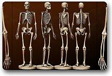 DOUBEE Generisches Menschliches Skelett Fussmatte Premium Schmutzmatte Rechteckige Garten Nach Hause Türmatte 60cm X 40cm