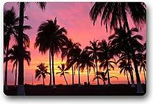 DOUBEE Generisches Sunset Palm Trees Fussmatte Schmutzmatte Garten Nach Hause Türmatte 60cm X 40cm