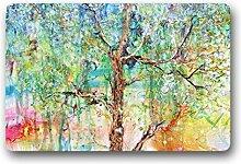 DOUBEE Neu Mode Design Baum des Lebens Fussmatte Schmutzmatte Haus Fußabstreifer 46cm X 76cm