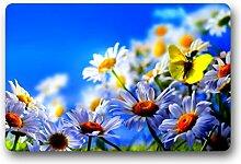 DOUBEE Schöne Blumen Flowers Fussmatte Premium Schmutzmatte Rechteckige Türmatte aus Garten Nach Hause 60cm X 40cm