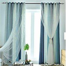 Double Deck Farbe Verdunkelungsvorhänge,mit Voile
