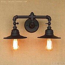 Double-headed loft style retro water pipe lamp