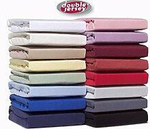 Double Jersey™ Spannbettlaken Spannbetttuch Bettlaken Fitted Sheet in 30 verschieden Farbe und 7 Grösse 100% Baumwolle Cotton - 90x200 YELLOW / GELB
