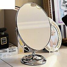 Double-sided ovalen Spiegel European-Style Metall Prinzessin Spiegel Desktopgröße Desktop-Spiegel der Spiegel-A