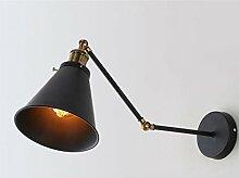 Double Swing Arm Wandleuchte, SUN RUN Vintage Style Industrial Black Wandleuchte Schirm mit verstellbarem Kopf für Küche, Wohnzimmer und Schlafzimmer, E26 Sockel