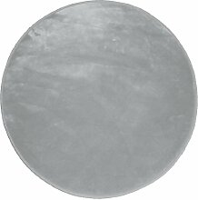 Douceur D'Intérieur  - 1603060, Teppich Samt Runde ,  90 Cm , Louna , Velours , Grau