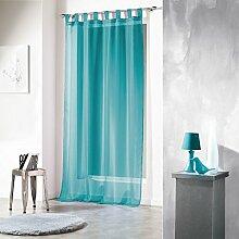 Douceur d'Intérieur Schlaufenvorhang, Polyester, 140x 240cm, Keramik, azurblau, 140x1x240 cm