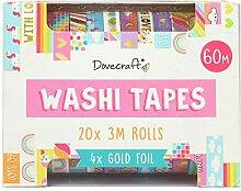 Dovecraft Washi-Tape-Box, 20 Designs, 10 mm breit,