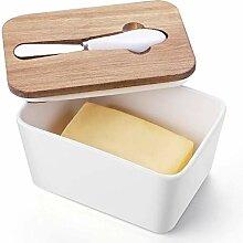 DOWAN Butterdose aus Porzellan mit Messer –