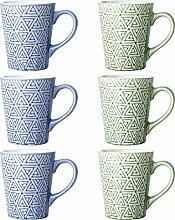DOWAN Porzellanbecher für Kaffee, Tee, Kakao, 313