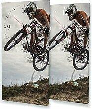 Downhill - Lautlose Wanduhr mit Fotodruck auf Leinwand Keilrahmen | geräuschlos kein Ticken Fotouhr Bilderuhr Motivuhr Küchenuhr modern hochwertig Quarz | Variante:30 cm x 60 cm mit schwarzen Zeigern - GERÄUSCHLOS