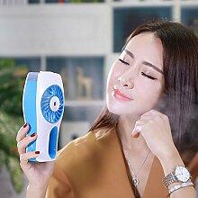 DOXUNGO Tragbare Handsprayventilator Mini-USB 3-stufiger Ventilator Mini-USB-Handbrause Lüfter Luftbefeuchter Feuchtigkeit eingebaute 2000mAh Akku Ventilator mit Sprühwasser Schönheit im Sommer zum Haushalt , Bürogebrauch oder auf den Reisen (blau)