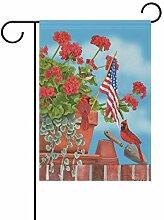 Dozili Flagge, rosa Flamingo mit Amerika-Flagge,