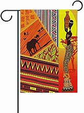 Dozili Gartenflagge Elefant Sonnenuntergang Afrika