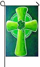 Dozili Gartenflagge Grünes Kleeblatt Kreuz