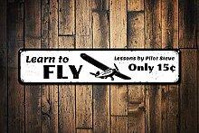 Dozili Schild Learn to Fly, personalisierbar,