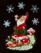 dpr Fensterbild Weihnachtsmann Schlitten Teddyb/är mit irisierendem Glimmer Weihnachten Fenstersticker Fensterdeko Weihnachtsdeko
